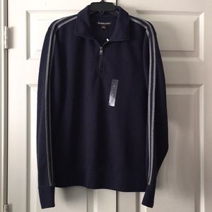 NWT Michael Kors Men's 1/4 Zip Sweater Blue Size L